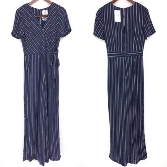 9a9a7aef2c JOA Jumpsuit Pants Faux Wrap Navy Striped Wide Leg